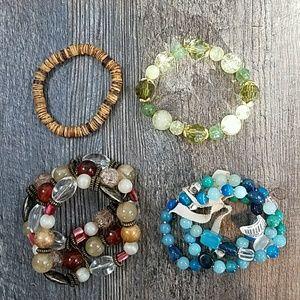 Lot of 4 Beaded Stretchy Bracelets